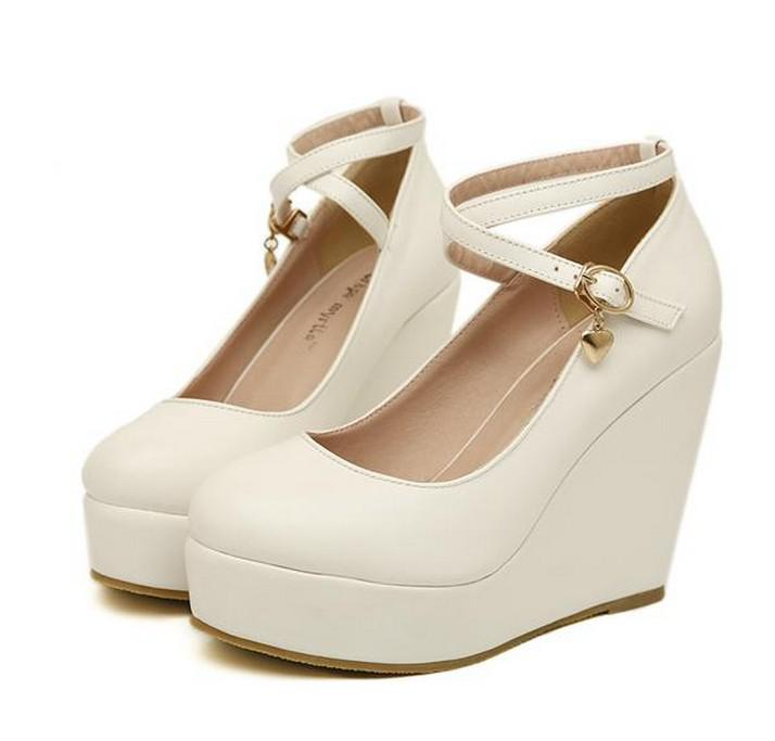 White Brown Black Womens High Heels Wedge Heel Wedding Shoes Sexy Shoes Online With
