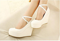 Wholesale Autumn new European and American white high heels platform wedge heel lady shoes