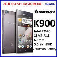 Precio de Lenovo k900-Original Lenovo K900, CPU: Intel Atom Z2580, 5.5 '' IPS pantalla Duel núcleo teléfono 2048Mhz, 2G RAM + 16GROM Android 13MP google jugar, plata negro