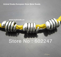Wholesale Tibetan Silver Metal Big Hole Beads Charms Metal Snake Beads