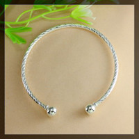 Wholesale 65 mm Silver SCREW END CUFF CHARM BRACELET BANGLE FIT HOLE BEADS Ending Screw Balls BRACELET Fit European Jewelry Findings