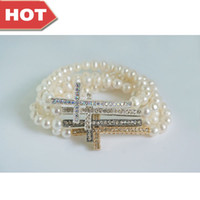 Wholesale Jewelry Sideways Cross Pearl Bracelet White Freshwater Pearl Bracelet Crystal Rhinestone Sideways Cross Bracelet Mix Color