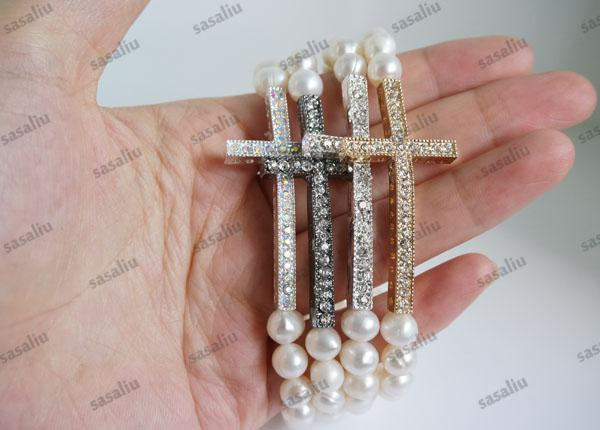 Bijoux Sideways Cross Bracelet de perles blanc perle d'eau douce Bracelet strass cristal Sideways Cross Bracelet 10pcs / lot Mix Couleur