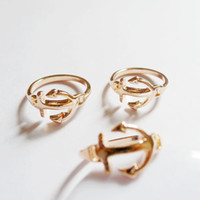 Gift Rose Gold Band Rings Friendship 18mm 50pcs Rose Gold Anchor Ring Handmade Jewelry Finding