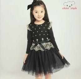 Wholesale Big Children Fall Long Sleeve Dress Lace Ribbon New Yarn Preppy Style Girls Princess Dress Year Kids Clothing QS554