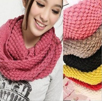 Wholesale winter solid color scarf winter knitted collar wool yarn Candy color muffler scarf W4197