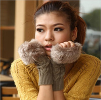 Wholesale Autumn and Winter Imitation Rabbit fur Women Wool Gloves Half finger Gloves Knitted Mittens Lengthen W4199