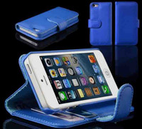 Leather For Apple iPhone For Christmas 100pcs Wallet Leather Flip Stand Case Bag Cover with Card Slot Holster for iPhone 5 5G