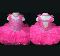 Wholesale New white shining spaghetti strap Mini Girl s Pageant Dresses Glitz Lovely Tuddle s Dresses hollow back Pink lovely Girl s Pageant Dresses