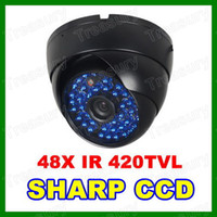 Wholesale Vandalproof Dome Camera SHARP CCD TVL Color CCTV Camera IR LED Day amp Night Camera Blue LED