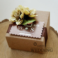Wholesale Vintage Environmental Kraft Cardboard Flower Candy Boxes Custom Made Card Square Wedding Favor Boxes Party Gift Boxes a a