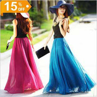 Wholesale 16 colors Fashion Bohemia women s chiffon skirts beach party dress ladies dress maxi skirt for girl Stretch Waist Band dress skirt