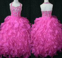 Halter Beads Organza Wonderful New Girl's Pageant Dresses Beads Sequin Ball Gown Shining Girl Dresses For Little Girl Organza Pink Princess Flower Girl's Dress