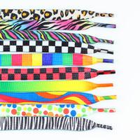 Wholesale Pair Flat Coloured Pattern Leopard Zebra Rainbow funny Shoelace Sports Canvas Sneaker Shoe Laces