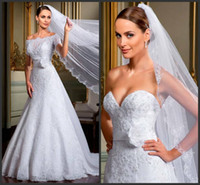Wholesale NEW arrival elegant gorgeous a line off the shoulder with flower waist lace beaded wedding dresses Bridal Gowns