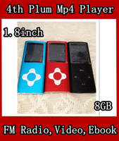 "9 colors Sports Voice Recorder 4th 1.8"" inch Screen 8GB Mp3 Mp4 Player + The Plum Flower Buttons+FM Radio Video Ebook Games, DHL Free Shipping 50pcs lot With Accessories"