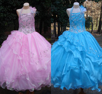 Beads beautiful little girls photos - Long Pink White Sky Blue Little Girl s Pageant Dresses Beads Organza Princess Simple Beautiful Halter Pageant Dresses Flower Girl s Dresses