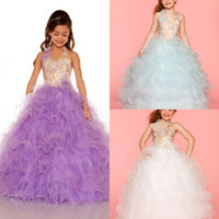 Wholesale Most Popular Halter Ball gown princess girl s pageant dresses handmade beads organza white lilac little girls pageant dresses