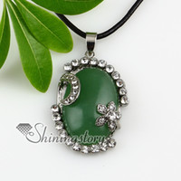 Wholesale oval flower jade agate turquoise semi precious stone rhinestone necklaces pendants gemstone silver jewelry Cheap jewelry fashion Spsp2325CY5