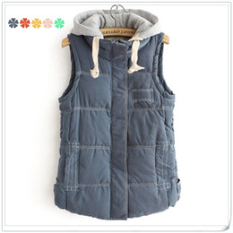 Wholesale ESWALLOW New fashion women s sleeveless sweater winter waistcoat five colors feather cotton hooded vest