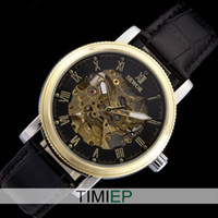 Wholesale Black Steampunk Trasparent Skeleton Analog Leather Hand winding Mechanical Mens Watch