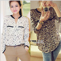 Wholesale New European Style Spring Women s Sexy Shirts V Neck Leopard Print Stars Double Pockets Cardigan Loose Clothing Gold White Long Sleeves