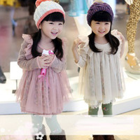 Wholesale Floral boats sleeve wool dress girls dress autumn models girls Baby Clothing Kids Clothing Children s Skirts girls clothes