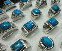 Wholesale G jewelry men turquoise silver plated rings LR013