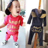 Wholesale Long Trousers Child Suit Kids Sets Fashion Angel Hoodie Sweatshirts Children Set Kids Suit Outfits Baby Wear Long Sleeve Tops Casual Pants