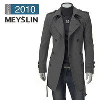 Wholesale Special offer new men s winter coat Korean Slim double breasted woolen trench coat and long sections