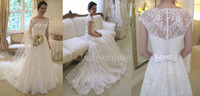 Wholesale Custom made sexy white court train full lace bridal gowns cap sleeves with satin bowknot sash bateau neckline A line wedding dresses BO1893