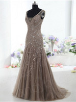 Mother's Dresses mother of the bride sequin dresses - 2015 High Quality Brown Evening Dress Drop Waist V Neck Mermaid Court Train Beading Sequins Embroidery Tulle Mother of the Bride Dress Olesa