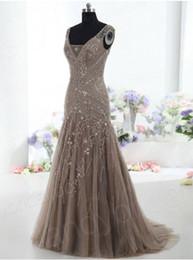 2015 de la alta calidad de Brown del vestido de noche de talle V corte de la sirena del cuello de las lentejuelas de tren rebordear bordado de tul madre de la novia vestido de Olesa