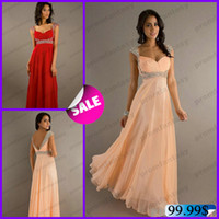 2014 Peach Beaded Chiffon Prom Dresses Under 130$ Bling Blin...