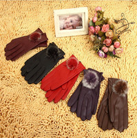 Real Leather leather gloves - Women s Leather Gloves Rabbit Fur Gloves Winter Warm PU Gloves Fashion Gloves