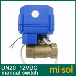 Wholesale 10pcs motorized ball valve V DN20 reduce port with manual switch way electrical valve brass