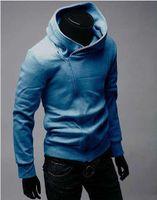 Men bape chain - Assassin s Creed chain diagonal zipper shirt men s hooded Korean Slim Men s gray hoodie