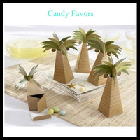 Wholesale Unique coconut tree coconut palm Candy Boxes ribbon New Candy Favors Novelty Wedding Favors Favor holders Wedding Candy package Theme Party