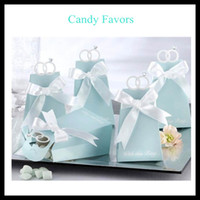 Wholesale Unique Tiffany blue diamond ring Candy Boxes ribbon New Candy Favors Novelty Wedding Favors Favor holders Wedding Candy package Theme Party