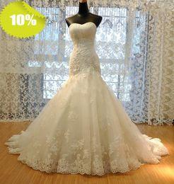 2017 Elegant Sweetheart Mermaid Crystal Lace Flower Chapel Train Lace Up Wedding Dresses China Wedding Dresses In Dubai Wedding Dress