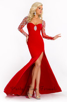 Chiffon Long Sleeve Floor-Length custom made Long pageant split chiffon gown with sweetheart long sheer cap sleeves Zip up mid open peek back with support strap PT 5638