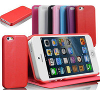 For Apple iPhone For Christmas Retail Pack For iPhone 5 Case Smooth Wallet Style Slim PU Leather Flip Case Cover With Card Holder Retail