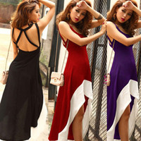Wholesale Trendy Womens Summer Sexy Backless Sleeveless Empire Spaghetti Strap Asymmetric Party Bohemian Long Maxi Dress Purple Blue Black Red