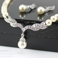 Wholesale Cheap Jewelry For Women Silver Gold Tone Pearl Rhinestone Crystal Diamante Wedding Bridal Necklace and Earrings Bridesmaid Jewelry Set SF