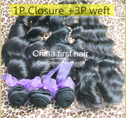 Wholesale Hot Selling Product Queen hair Loose Wave Brazilian Virgin Hair With PC Lace Top Closure Best Match