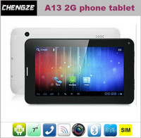 Wholesale Hot Sale Inch A13 Tablet PC Android G SIM phone Call capacitive touch screen Dual Camera Bluetooth MB GB