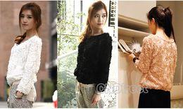 Wholesale Korea Women s Girls D Mesh Lace Rose Floral Long Sleeve Shirt