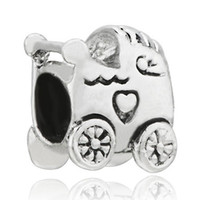 10 Silver Oval New 925 silver beads Stroller Heart Baby Car Fit All Brands & Silver Plated Beads Charms Bracelets 1000pcs lot mix.Free shipping