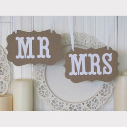 Wholesale Bride Groom MR MRS Vintage Wedding Signs Banner Photo Booth Props Party Decoration