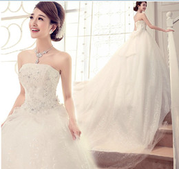 New Sexy Sweetheart Beading Lace up Cathedral Train Wedding dress Ball Gown Wedding Dresses